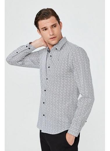 Avva Erkek Baskılı Alttan Britli Yaka Slim Fit Gömlek A02Y2067 Lacivert